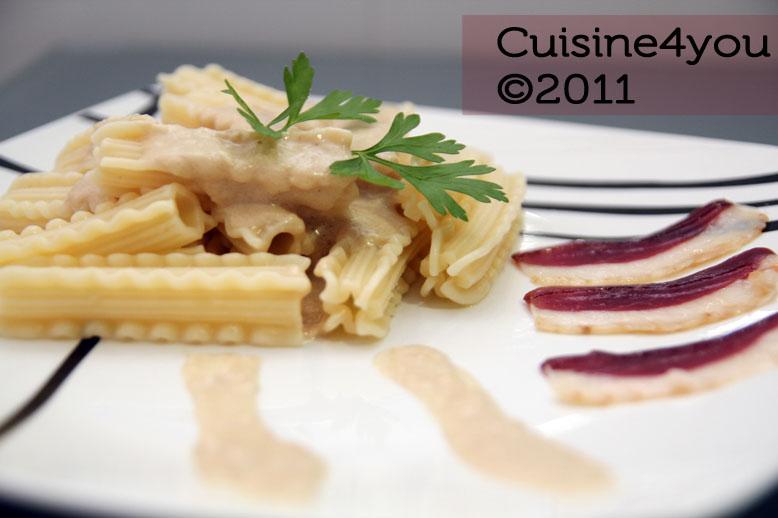 Pasta con salsa de foie