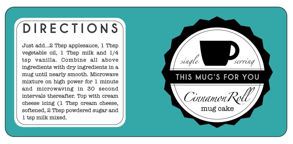 mug cake cinnamon roll tag