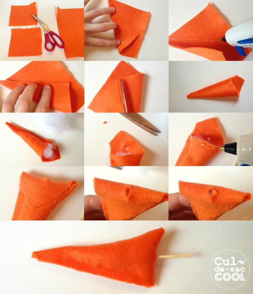 Felt Carrot Nose Instructions for DIY Snowman Kit: