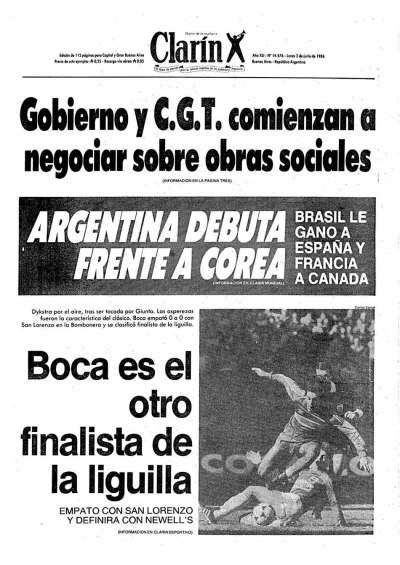 La tapa del Diario Clarín, el 2 junio de 1986