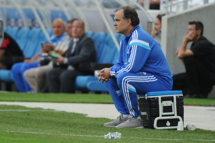 zzzzinte1Marseille's Argentine head coach Marcelo Bielsa watches during the French L1 football match Marseille (OM) vs Rennes (SR) at the Velodrome stadium in Marseille, on September 20, 2014. AFP PHOTO / BORIS HORVAT zzzz