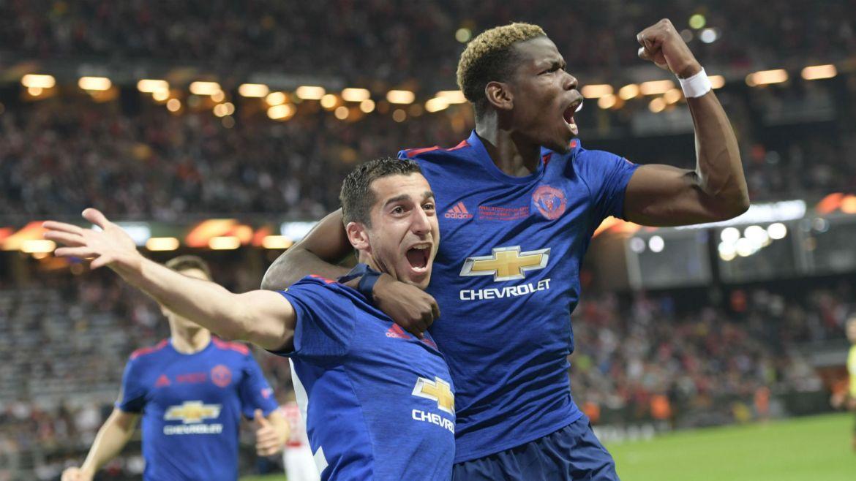 El festejo de los jugadores del United.