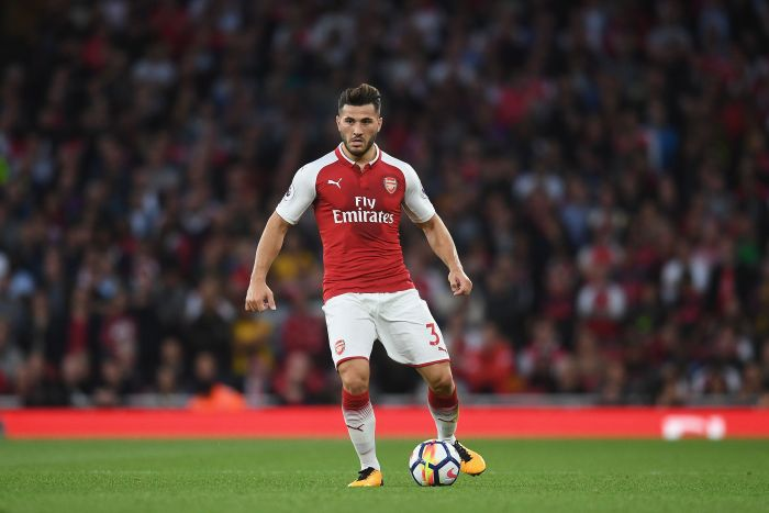 LONDON, ENGLAND - AUGUST 11: Sead Kolasinac of Arsenal in action during the Premier League match between Arsenal and Leicester City at Emirates Stadium on August 11, 2017 in London, England. (Photo by Michael Regan/Getty Images)