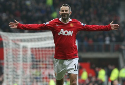 MANCHESTER, ENGLAND - JANUARY 22: Ryan Giggs of Manchester United celebrates scoring their third goal during the Barclays Premier League match between Manchester United and Birmingham City at Old Trafford on January 22, 2011 in Manchester, England. (Photo by John Peters/Man Utd via Getty Images)