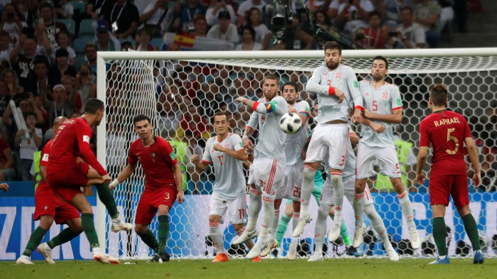 Soccer Football - World Cup - Group B - Portugal vs Spain - Fisht Stadium, Sochi, Russia - June 15, 2018 Portugal's Cristiano Ronaldo scores their third goal REUTERS/Murad Sezer