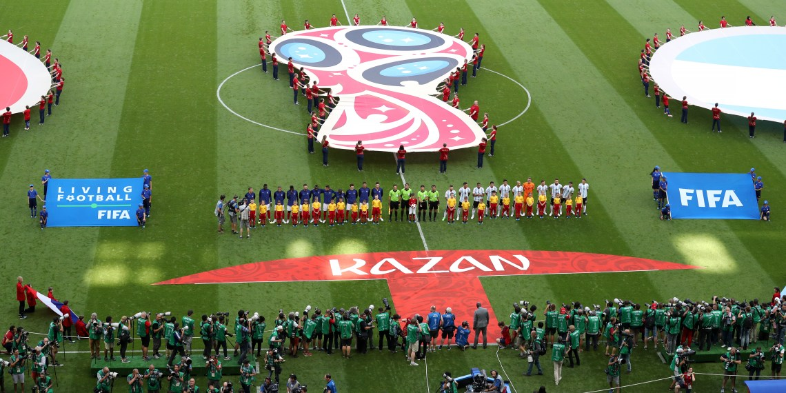 KAZAN, RUSSIA - JUNE 30: General view inside the stadium as the France and Argentina players line up prior to the 2018 FIFA World Cup Russia Round of 16 match between France and Argentina at Kazan Arena on June 30, 2018 in Kazan, Russia. (Photo by Catherine Ivill/Getty Images)