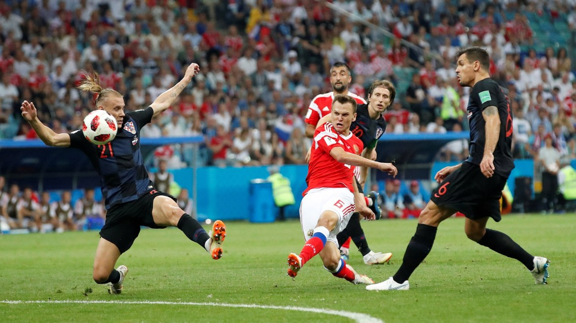 Soccer Football - World Cup - Quarter Final - Russia vs Croatia - Fisht Stadium, Sochi, Russia - July 7, 2018 Russia's Denis Cheryshev scores their first goal REUTERS/Maxim Shemetov
