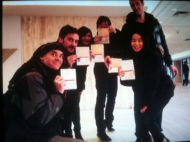 "The cast and crew of ""L'Effet de Serge"" with their ""zombie visas,"" photo courtesy of On the Boards."