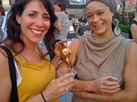 The TEAM&#039;s Rachel Chavkin and Amber Gray, with the Edinburgh Fringe Herald Angel Award they won for &quot;Mission Drift.&quot;