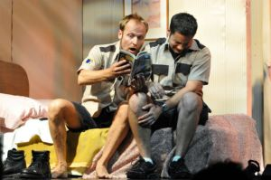 "Yanko Bakulic and Eric Robledo in ""La estupidez,"" directed by Julian Mesri at Repertorio Español in NYC"