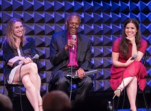 Rinne Groff, Reverend Herbert Daughtry, and America Ferrera at Public Forum Drama Club: Antigone, at Joe's Pub at The Public on May 10. Photo credit: Simon Luethi.