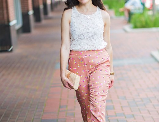 Work Wear : Blush Floral Pants and White Lace Top   www.cupcakesandthecosmos.com