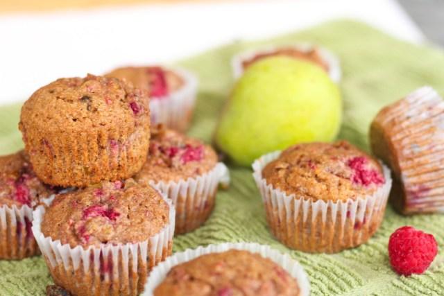Pistachio Pear Raspberry Muffins