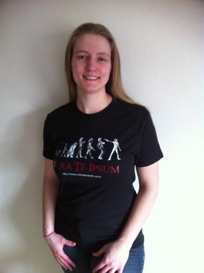 Kristen wearing our wonderful shirt!