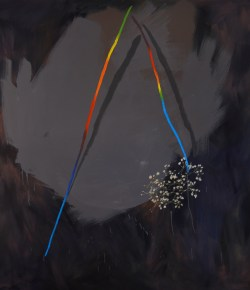 Melo's Things II, 2013, Oil and graphite on canvas, 64 x 72 inches
