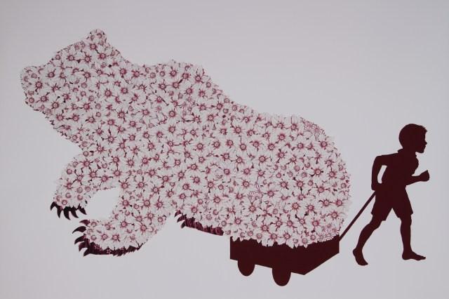 """Bouquet 2"" Digital print with hand cut paper 32""X 42"" 2013"