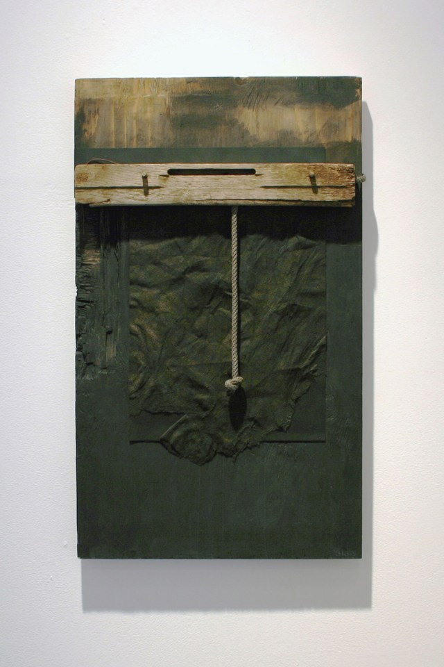 """Black Rope""  found object construction  30"" x 18"" x 3.25""  (wood, rope, fabric, paper, wire and water-based paint)"