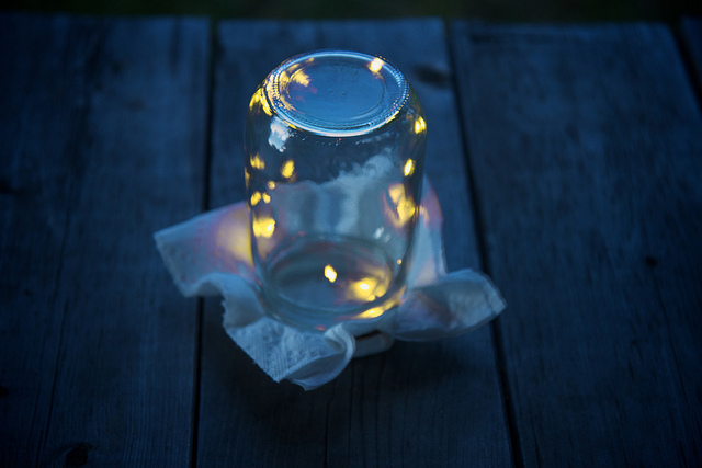 mason jars and fireflies