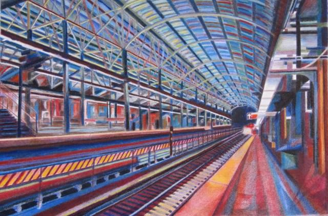 A Brooklyn Subway, 2014 Oil pastel, colored pencil, wax