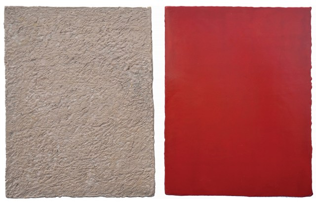 Sandra Bowden, Elements, 2008, encaustic, 11 x 38 inches (diptych).