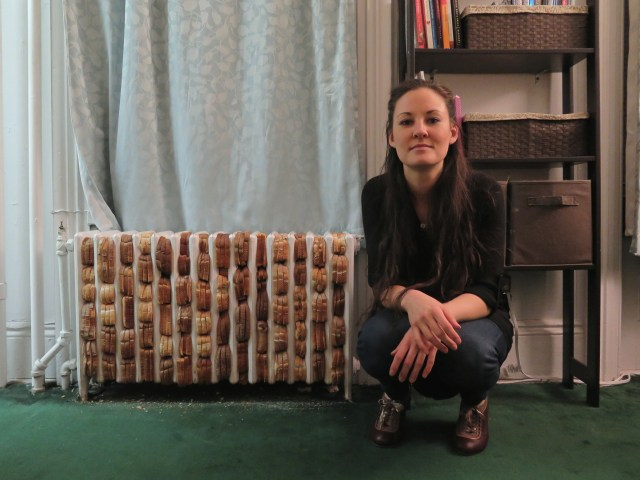 "Melissa Browder Beck with ""Breadiator"" piece for apARTment #1"