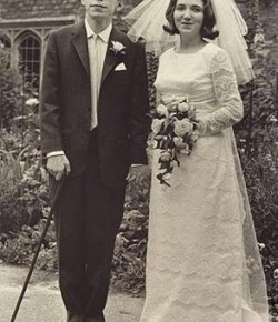 A Young, Cool Stephen Hawking Standing With His Bride