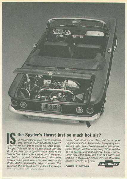 Chevrolet corvair spyder ad