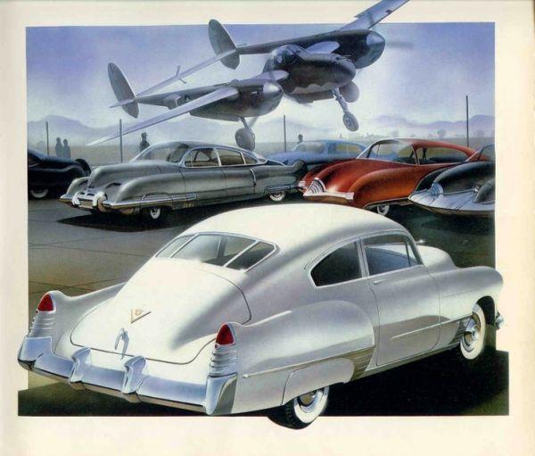 Cadillac 1948 and P-38