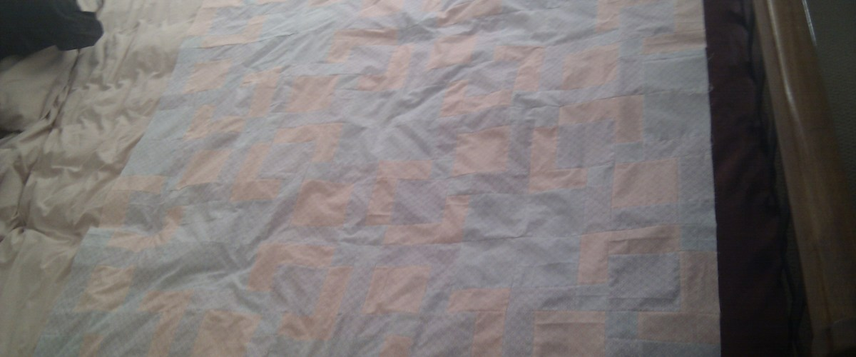The quilt layed out and ready for the backing