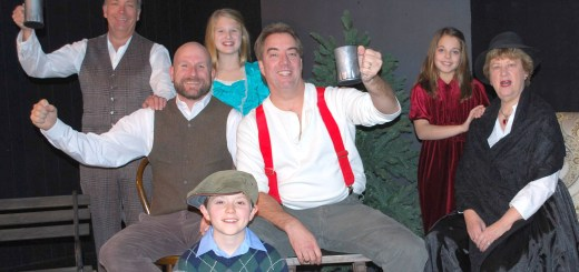 "Cast members for Carmel Theatre Company's ""A Child's Christmas in Wales"" include: back row, from left, Kurt Pantzer and Bella Doss; middle row, Will Doss, David Ballard, Ellen Gardner and June McCarty Clair; kneeling, Dalyn Stewart. (Submitted photo)"