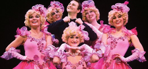 "Bobby Child (Blake Spellacy), center, is reminded by the Follies dancers that falling in love is ""Nice Work if You Can Get It."""
