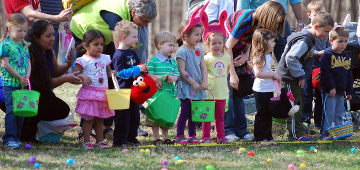 Children countdown to the start of the 2014 Noblesville Community Easter Egg Hunt at Forest Park. ������������