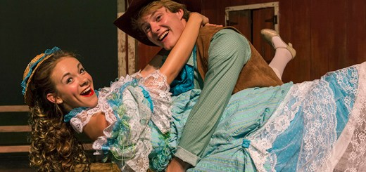 Megan Tiller (Ado Annie) and Aaron Jacobs (Will Parker) in 'Oklahoma' on stage now at the Civic Theatre. (Submitted photo)