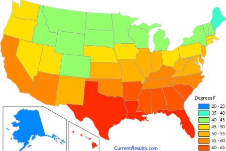 usa state temperatures mapped for each season current