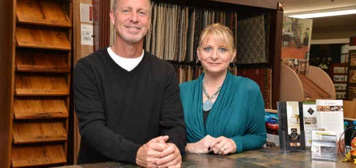 Kent and Tara Claghorn, owners of Claghorn Custom Flooring, on First Street in downtown Zionsville. (photo by Dawn Pearson)