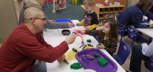 "Zionsville Lutheran's Christ Church preschool hosted ""Pops at Preschool,"" a time for dads of preschool- ers to join in on activities. Pictured are (front) Jason and Claire Evans and (back) Chuck and Colten Thomas. (Submitted photo)"
