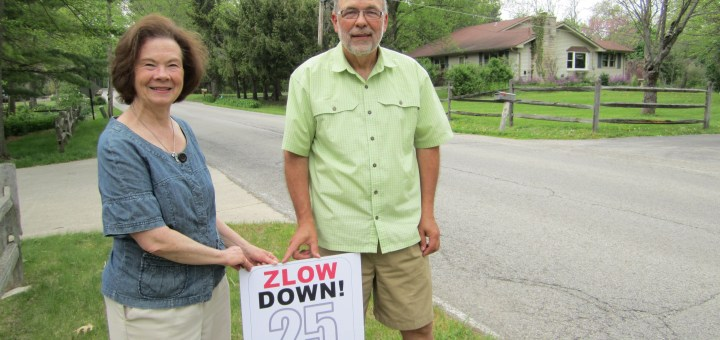 Robert and Ann Clarke are asking community members to stop speeding on Bloor Lane. (Photo by Sophie Pappas)