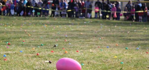 Children lined up around the park as they waited for the annual egg hunt to begin. (Photos by Keith Shepherd)