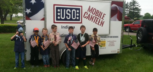 Cub Scouts from Zionsville Pack 105 get a look at a new USO mobile trailer purchased in part with funds raised from the Scouts' popcorn sale. (submitted photo)