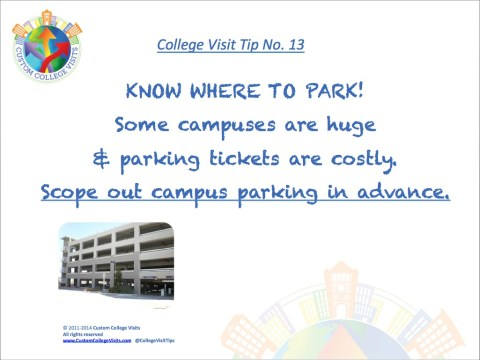 College Visit Tip 13 Know Where to Park when on a College Tour