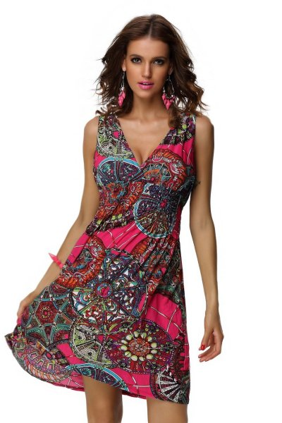 Spring Summer Casual Low-cut V-neck Prints Sundresses