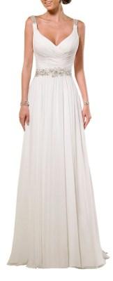 V Neck Shoulder Straps Soft Ruching Chiffon Wedding Gown