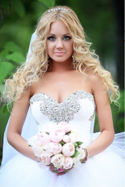 Sweet Crystal Beaded Tulle Ball Gown Wedding Dress
