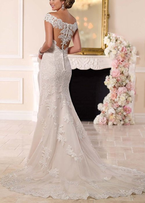 A Line Princess Straps Knee Length Chiffon Wedding Dress