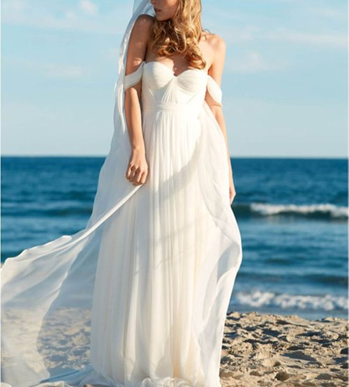 Elegant A-Line Empire Long Chiffon Bridal Beach Wedding Dress