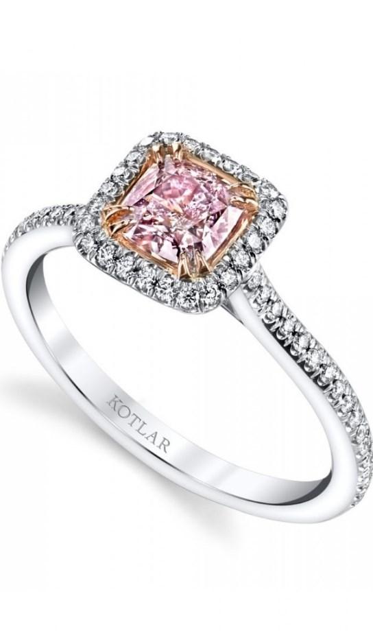 Amazing Pink Diamond Cushion Cut Wedding Ring!