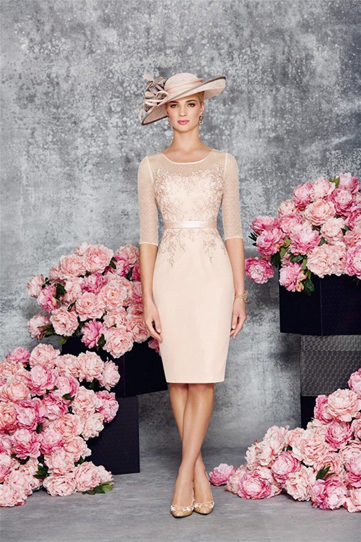 Pink Mother of Bride Dresses Tea Length