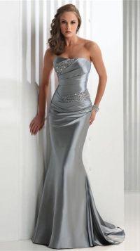 Strapless Train Elastic silk-like Satin Prom Dress