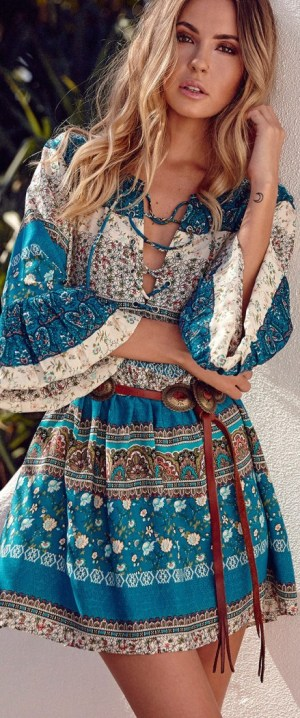 Cute Bohemia V Neck Sleeve Mini Dress