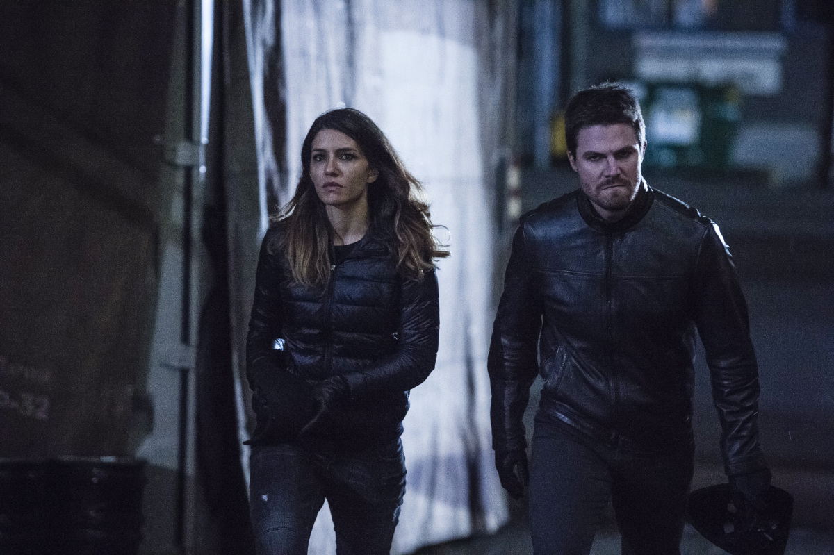 "Arrow -- ""Bratva"" -- Image AR512b_0067b.jpg -- Pictured (L-R): Juliana Harkavy as Tina Boland and Stephen Amell as Oliver Queen/The Green Arrow -- Photo: Cate Cameron/The CW -- © 2017 The CW Network, LLC. All Rights Reserved."